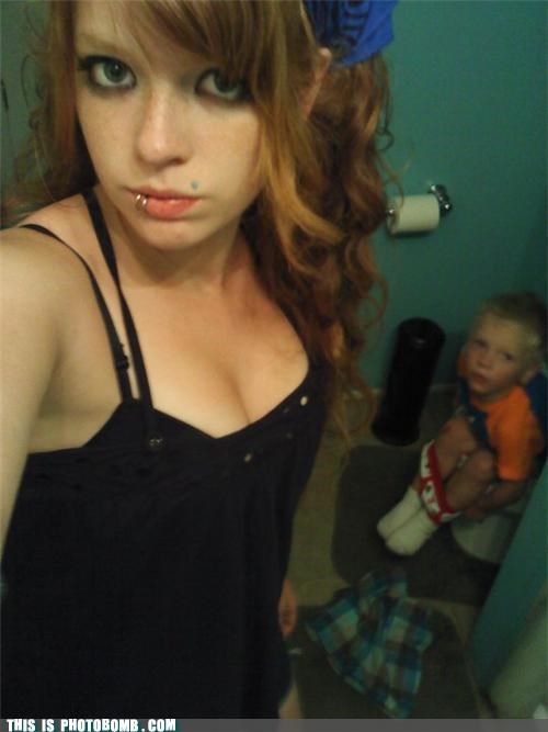 Awkward bathroom kids photobomb piercings potty presents toilet