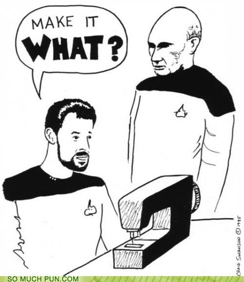 Command,picard,puns,sewing,Star Trek