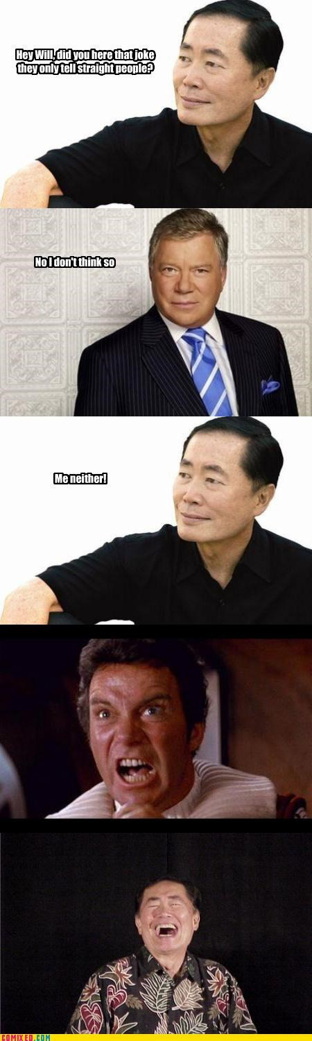 Captain Kirk,gay jokes,george takei,sexuality,Star Trek,sulu,William Shatner