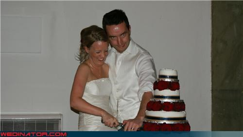 bride laughing in fear,cake cutting,Crazy Brides,crazy groom,Dreamcake,frightened bride,Funny Wedding Photo,large knife,scary groom,surprise,technical difficulties,wedding cake cutting,wtf