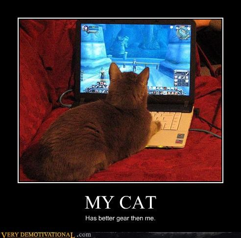cat,gear,impossible,laptop,Sad,sad but true,Warcraft,WoW