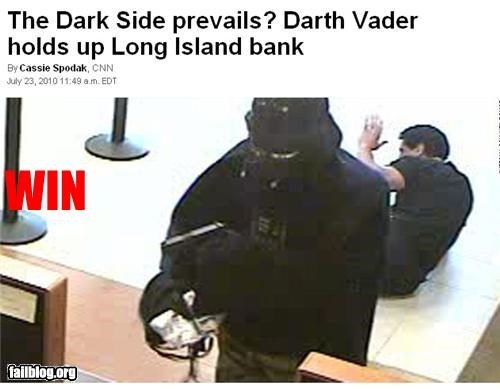 darth vader,failboat,news,robbery,star wars,win