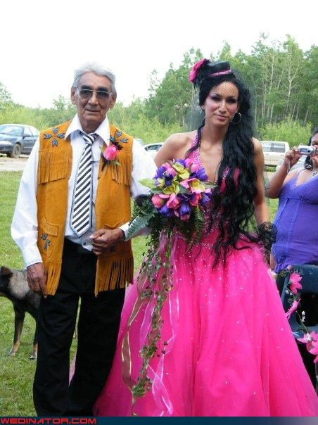 awesome father of the bride,Crazy Brides,dressing from the heart,fashion is my passion,father of the bride,funny bride picture,funny wedding picture,interesting fashion choices,suede vest with fringe,walking down the aisle,Wedding Themes