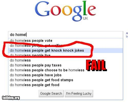 Autocomplete Me failboat google g rated homeless jokes search - 3788604160