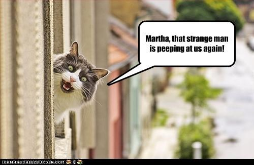Martha, that strange man is peeping at us again!