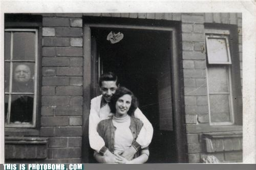 black and white couple monster photobomb troll vintage wtf