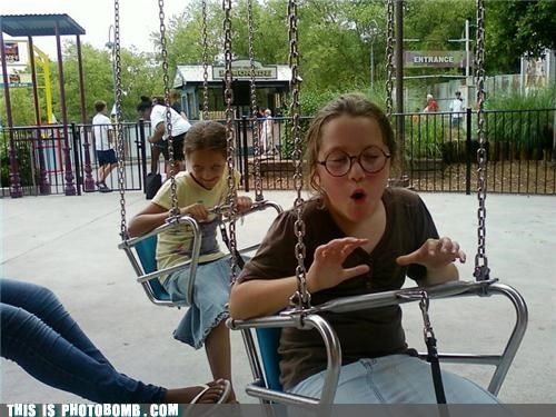 kids,Kids are Creepers Too,summer,swings,vacation,your face will freeze like that
