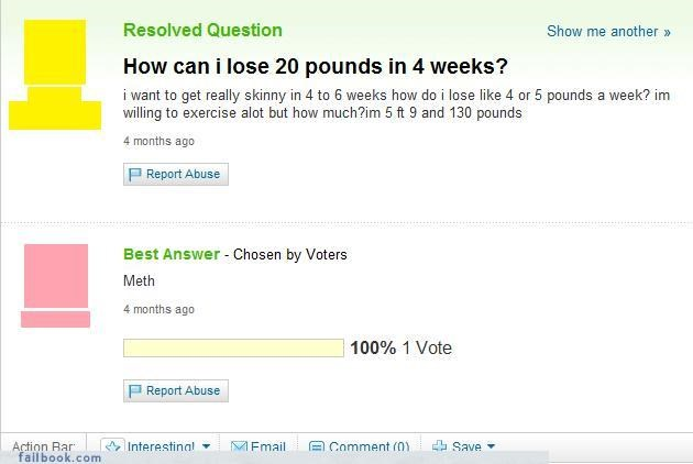 dropping dress sizes,drugs are bad,unhealthy,weight loss,Yahoo Answer Fails