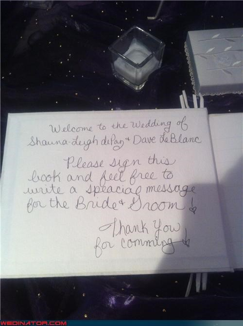 accidental misspelling cursive funny wedding guest book funny wedding photos miscellaneous-oops oops spelling errors technical difficulties wedding guest book - 3797075200
