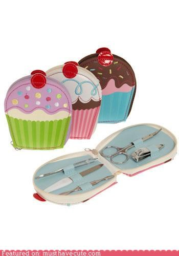accessory bathroom beauty cupcake manicure set cupcakes cute manicure sets - 3798423296