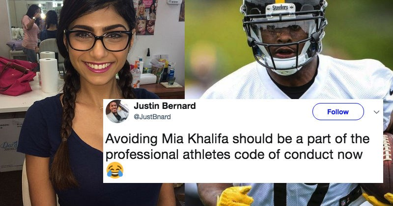Steelers wide receiver stiff arms a thirsty Mia Khalifa after she tweets at him on Twitter about missing bike.