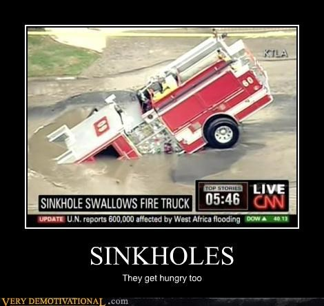 sinkhole,firetruck,idiots,funny