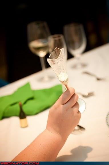broken champagne glass,funny champagne flute picture,funny wedding photos,intense wedding toast,mini-bottle of champagne,miscellaneous-oops,technical difficulties,wedding toast