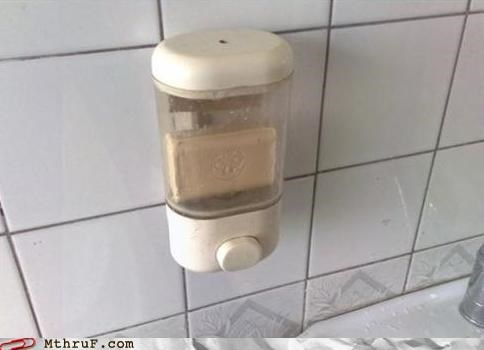 awesome co-workers not bathroom boredom cost cutting creativity in the workplace cubicle fail depressing dick move dickheads dispenser fffffffffuuuuuu hygeine lazy Sad screw you sink soap soap dispenser uncool weasel wiseass work smarter not harder - 3801869824