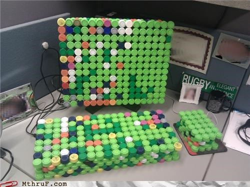 awesome awesome co-workers not boredom bottle tops clever creativity in the workplace cubicle boredom cubicle prank decoration diabetes diarrhea diarrhea all over the place dickhead co-workers gross hardware high fructose corn syrup ingenuity mia mountain dew pop prank punkd pwned recycling replaced screw tops screw you sculpture soda soda pop sugar swapped symptoms wiseass withdrawals wrapping your ever-expanding ass - 3802223360