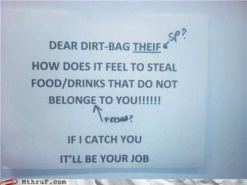 bag passive aggressive signs spelling thief - 3802975488