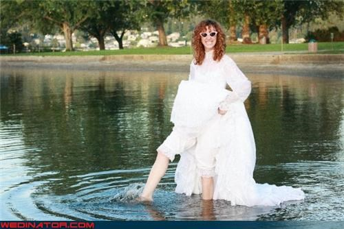 80s wedding dress trashing,commemorative anniversary,Crazy Brides,fashion is my passion,funny bride picture,funny wedding picture,surprise,trash the dress,ugly wedding dress,Wedding Themes