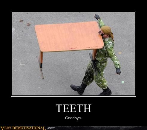 guns idiots soldier stunt table teeth wtf - 3803849216