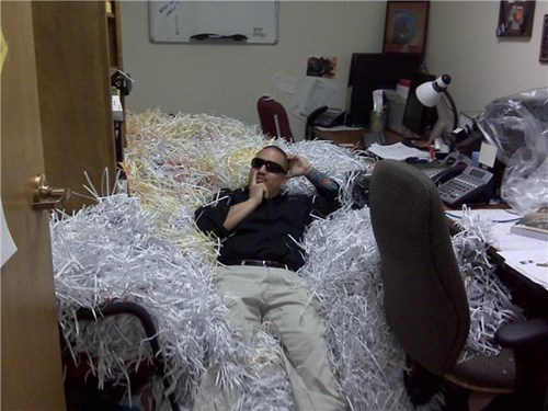 awesome awesome co-workers not boredom cool dude creativity in the workplace cubicle boredom cubicle prank decoration ergonomics ingenuity mess paper shredder prank punkd pwned ridiculous sass shreded paper sunglasses trash wiseass