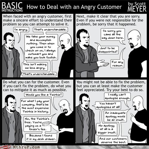 angry customer,basic instructions,customer service with a frown