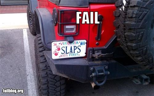 abuse,cars,failboat,kids,license plate,virginia