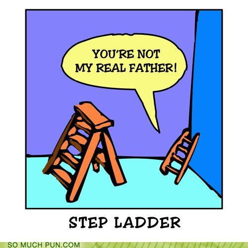 angst,blended family,puns,step father,step ladder
