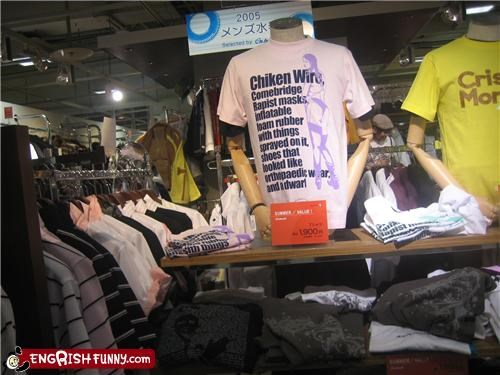 checklists engrish fashion poorly worded random items shirts