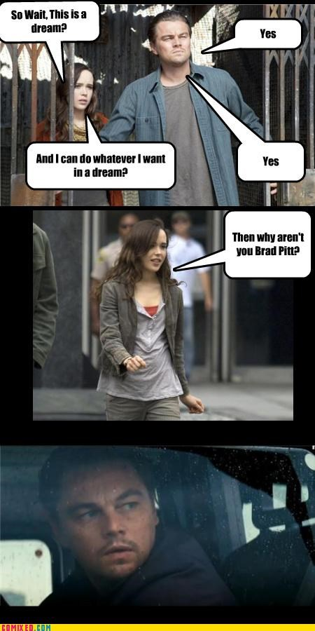 brad pitt dreams ellen page From the Movies Inception leonardo dicaprio - 3811212032