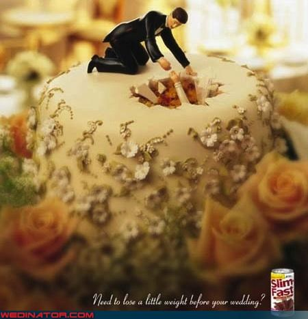 cake toppers,Dreamcake,funny wedding picture,miscellaneous-oops,oh no they did not,psa,Slim Fast wedding ad,surprise,technical difficulties,terrible bride advertisement,were-in-love,weight loss,wtf