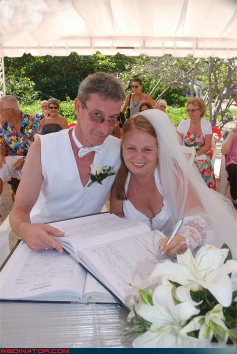 bob saget confusing Crazy Brides crazy groom eww fashion is my passion flamboyant groom funny wedding picture groom in white vest interesting fashion statement lace lace wrist cuff surprise were-in-love Wedding Themes wtf - 3812709376