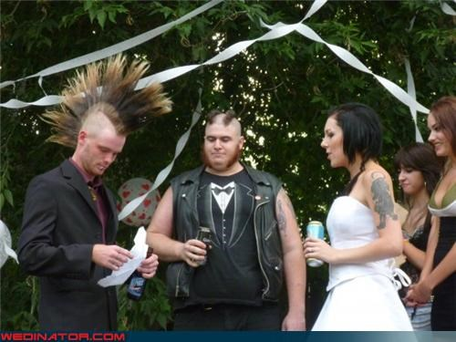 badass grooms,beers,Crazy Brides,crazy groom,fashion is my passion,Funny Wedding Photo,funny wedding photos,mohawk,nontraditional weddings,punk,punk wedding,romance,surprise,tuxedo shirt,were-in-love,wedding ceremony,wedding party,Wedding Themes,wtf