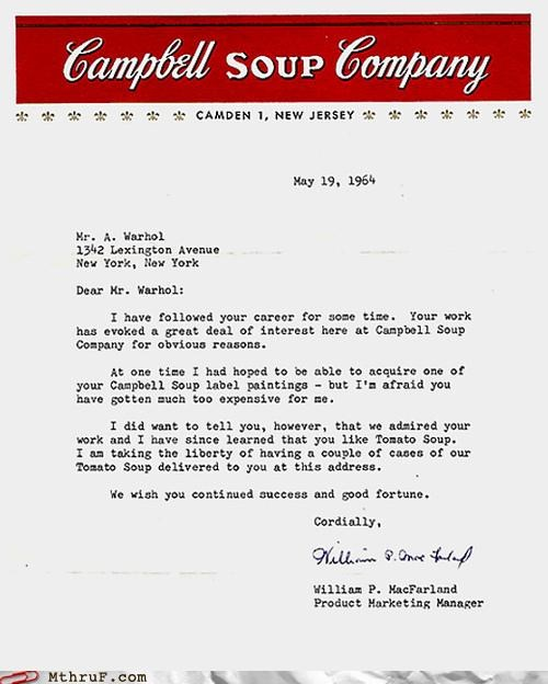 Andy Warhol,letter,painting,soup,starving artist,win,work