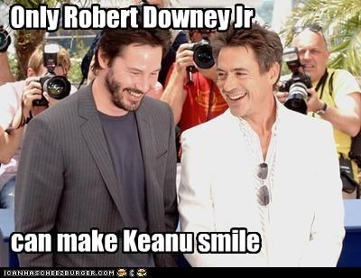 Only Robert Downey Jr can make Keanu smile