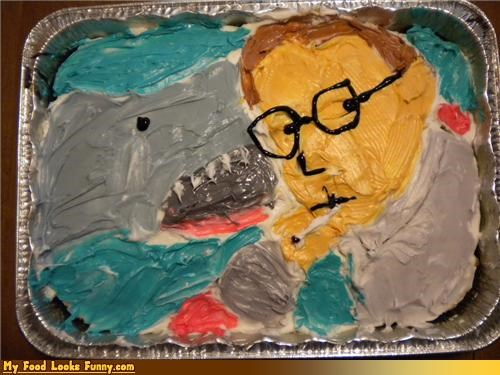 cake,decorated,frosting,jaws,Movie,scene,shark,Sweet Treats
