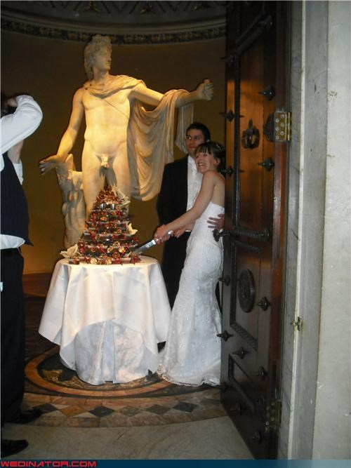 Ancient Greek statues,Crazy Brides,crazy groom,Dreamcake,eww,funny wedding cake picture,funny wedding picture,genitals-wedding-cake,interesting wedding cake background,levitating penis cake topper,miscellaneous-oops,museum wedding,surprise,were-in-love,Wedding Themes,wtf