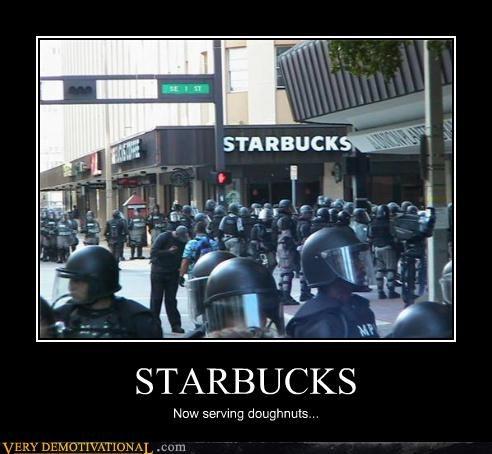 coffee doughnuts hilarious nom nom nom riot Starbucks - 3817351936