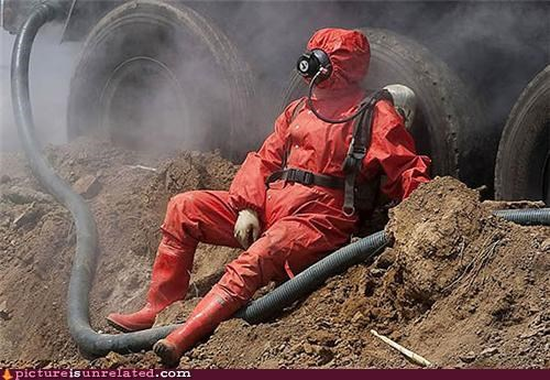 creepy gas mask prepared suit wtf