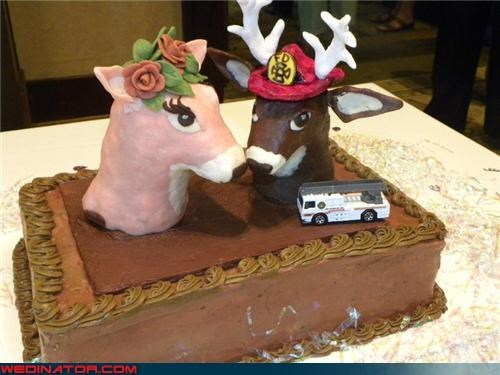 Crazy Brides,crazy groom,Deer Heads,Dreamcake,firefighter cake,Funny Wedding Photo,funny wedding picture,redneck wedding cake,themed wedding cake,were-in-love,Wedding Themes,white trash wedding,wtf