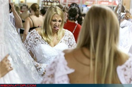 bride,bride expression win,eww,fashion is my passion,funny bride picture,funny wedding picture,lace,tacky wedding dress,telling facial expression,ugly wedding dress
