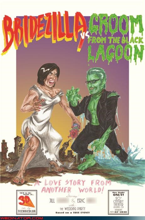 bride,bridezilla,cartoons,comic invitation,funny wedding invitation,funny wedding picture,groom,groom from the black lagoon,hand drawn wedding invitation,my dad is a bad dancer,technical difficulties,were-in-love,Wedding Themes