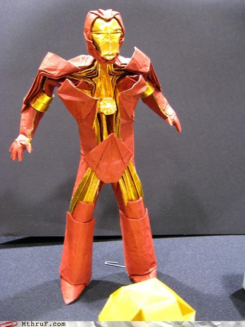 art arts and crafts awesome boredom clever comic book crafty creativity in the workplace cubicle boredom decoration geek impressive ingenuity iron man nerd decor nerdy origami paper sculpture super hero tony stark weird work smarter not harder - 3822258176