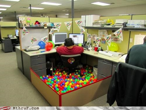 ball,cubicle,lol,play place,work
