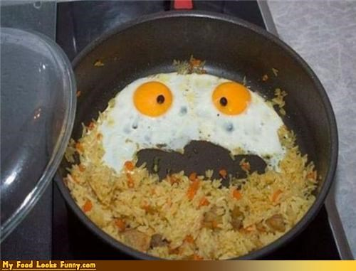 breakfast,eggs,face,fried,fried eggs,fried rice,hot,rawr,rice,sunny side up