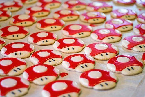 big cookies mario mario bros Mushrooms power ups Super Mario bros super mushrooms Sweet Treats