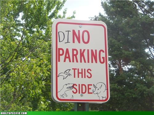 dinosaur,hacked,no parking,road signs