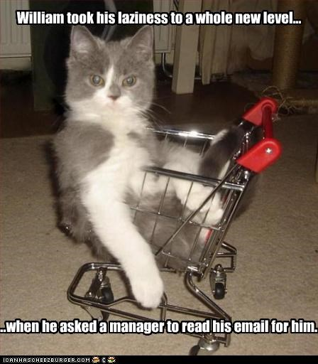 William took his laziness to a whole new level... ...when he asked a manager to read his email for him.