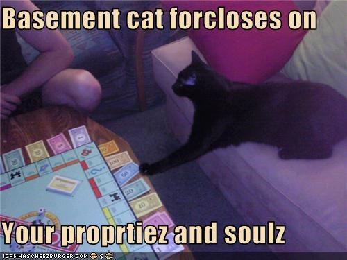 basement cat,caption,foreclosure,monopoly,property,soul
