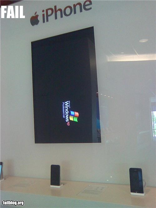 apple store,displays,failboat,iphone,ironic,windows