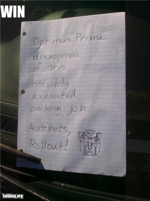 autobots,disapproving optimus prim,failboat,parking,robots,win