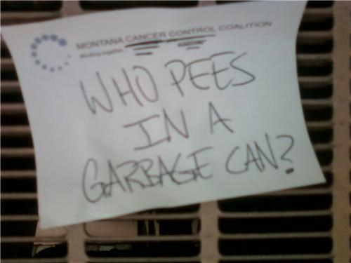 Who pees in a garbage can, seriously?